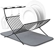 Umbra XDRY Dish Drying Rack and Microfiber Dish Mat - Space Saving Lightweight Design, Folds Up for Easy Stora