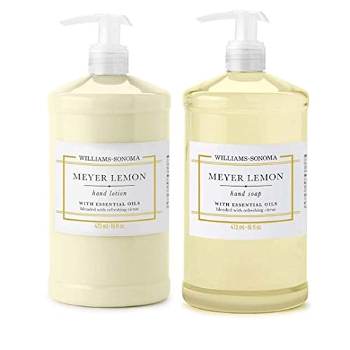 イブニング交換悪行Williams Sonoma Meyer Lemon Hand Soap and Hand Lotion 16 oz each [並行輸入品]