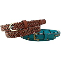 Xcessoire Girl's Braided Belt and Studded Belt (Pack of 2)