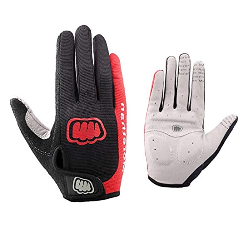 文化赤外線乱暴なKerwinner フルフィンガーハーフフィンガーショートライディングバイキンググローブ作業用手袋ウェイトリフティンググローブ、男性用&女性用ジムグローブ (Color : Red-1)