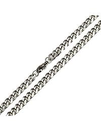 Trendsmax 喜平 チェーン ネックレス 銀色 幅5mm メンズ 細目 チェーンのみネックレス,チョーカー, クラシック キヘイ, ステンレス, カラー:シルバー