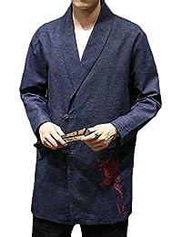 Keaac 男性秋刺繍ロングスリーブカエルボタンスーツコートコートアウト
