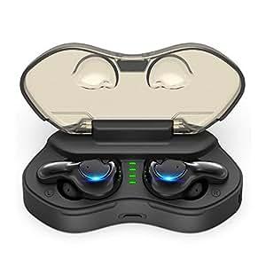 進化版 ワイヤレス イヤホン Borllyem スポーツ ブルートゥース TWS Bluetooth 5.0 ヘッドセット 77h 待機時間 UV紫外線殺菌ランプ Hi-Fi 高音質 3D ノイズ キャンセリング 片両耳使用 マイク 通話 マグネット搭載 大容量 収納 充電ケース付き 防水IPX7 Siri 対応 iPhone/iPad/Android適用