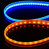 veleno LED テープライト 粒がみえない 超薄型 シリコン 切断可能 2色発光 流れる シーケンシャル ウィンカー デイライト ツインカラー 2本 セット 簡単取付 流星 純正仕様 60cm 12V 車用 (ブルー&アンバー)