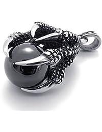 cljstoreジュエリーメンズゴシックトライバルステンレス鋼ドラゴン爪ペンダントネックレス、18 – 26インチチェーン