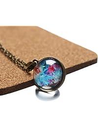Cikuso ネックレスの宇宙両面ガラス玉 タイム宝石ムーンのペンダントのネックレス、夢幻星空ジュエリー