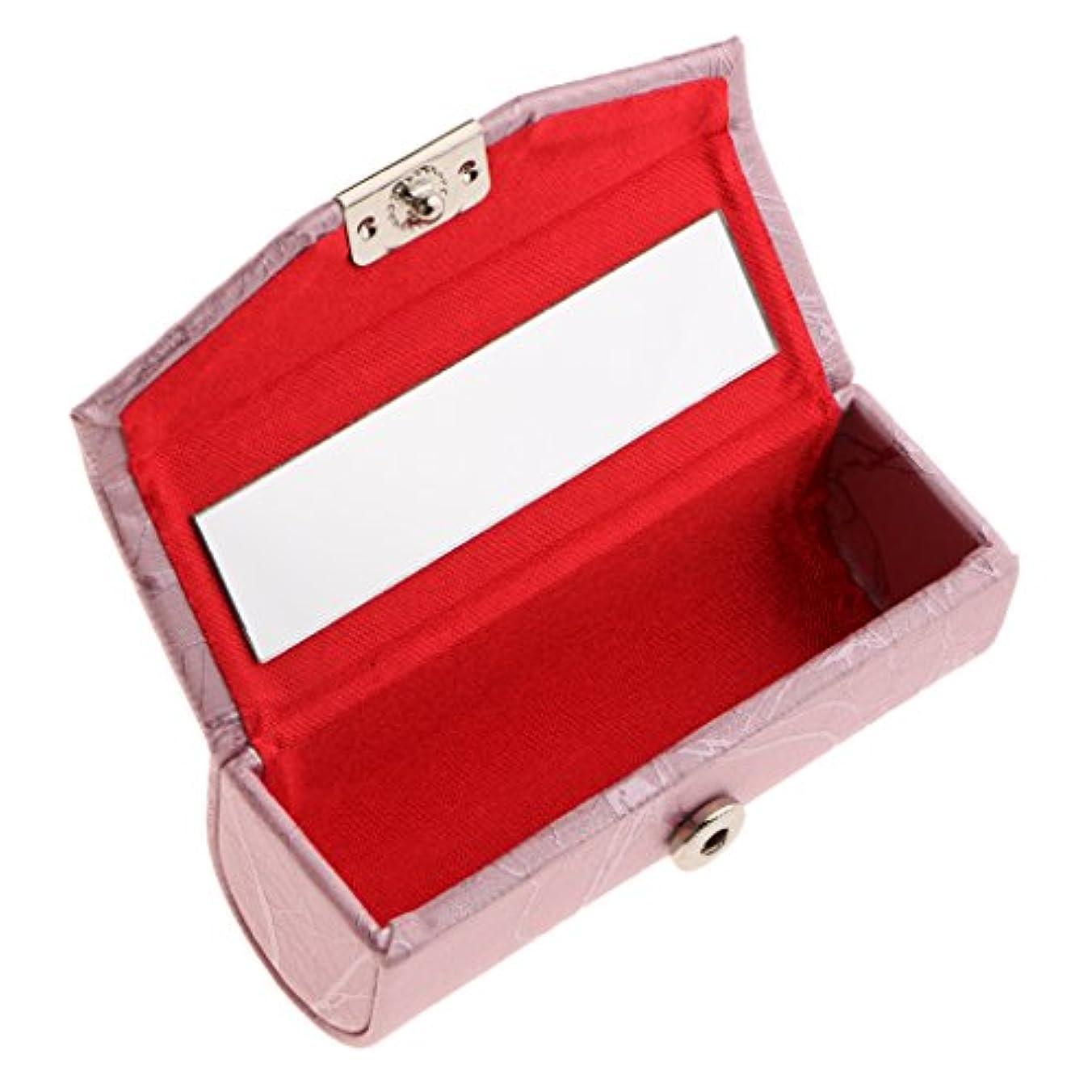 親指半導体動機Blesiya リップスティックケース ミラー付き レザー リップスティック リップグロスケース 収納ボックス メイクホルダー 多色選べる - ピンク