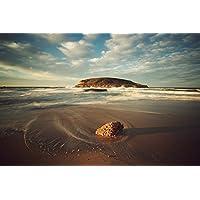 砂浜のビーチの近くのロッキー島 - #41355 - キャンバス印刷アートポスター 写真 部屋インテリア絵画 ポスター 50cmx33cm