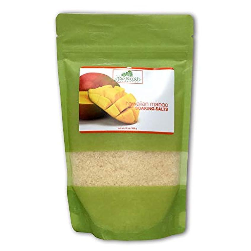 テーブル後ろに咲くハワイアンバス&ボディ ハワイアン?マンゴバスソルト ( Hawaiian Mango Bath Salt )