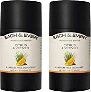 Each & Every 2-Pack Natural Aluminum-Free Deodorant for Sensitive Skin with Essential Oils, Plant-Based Pa