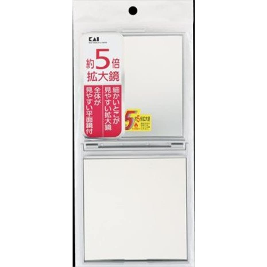 超えて寄託定規貝印 5倍拡大鏡付コンパクトミラー シルバー KX0755