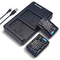 Newmowa NP-FV50 互換バッテリー 2個 + 充電器 対応機種 NP-FV50, PJ430V, PJ540, PJ580V, PJ650V, PJ710V, PJ760V, PJ790V, PJ810, TD20V, TD30V, XR150, XR155, XR160, XR260V, XR350V, XR550V, HXR-NX30U, NX70U