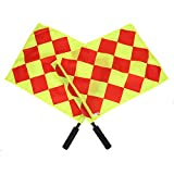 2Pcs Referee Flags, Linesman Flag with Storage Bag for Football Soccer