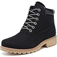 Geddard Waterproof Ankle Boots for Women Low Heel Lace Up Work Combat Boots