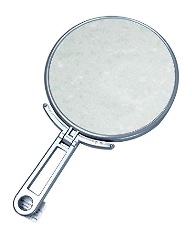 疎外バイバイ処理メリー 片面約5倍拡大鏡付折立ミラー シルバー CH-9740