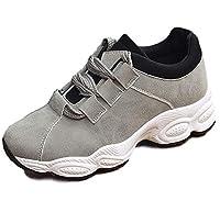 [ココマリ] 厚底 カジュアル スニーカー レディース シューズ 靴 シンプル 軽量 インヒール 歩きやすい 紐 くつ (23.5cm, グレー)
