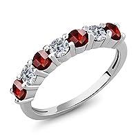 Gem Stone King 1.45カラット 天然 ガーネット 天然 ダイヤモンド シルバー925 指輪 リング