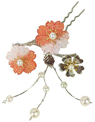 七五三 成人式 髪飾り 桜 オレンジ かんざし つまみ細工 ...