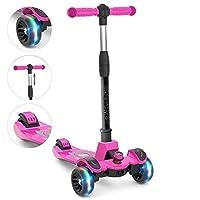 調節可能な高さの6KU子供のキックスクーター、操縦に傾く、子供のための点滅ホイール3〜8歳のピンク