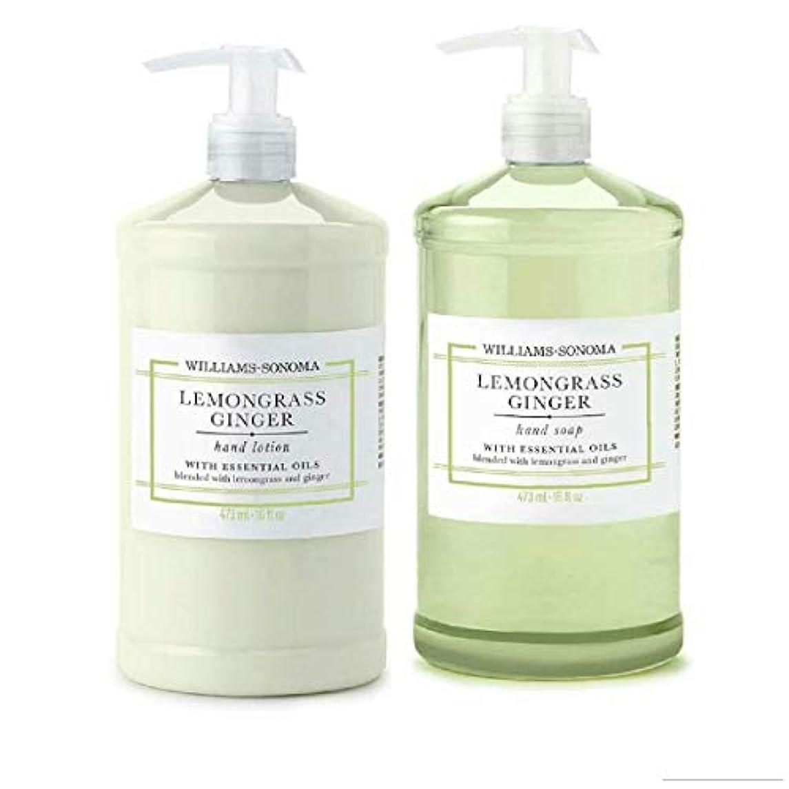 足ボトルネック欠如Williams Sonoma Lemongrass Ginger Hand Soap and Hand Lotion 16 oz each [並行輸入品]