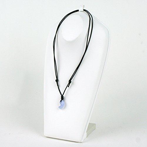 古代勾玉(まがたま)ペンダント ブルーレースメノウ[青玉髄 Blue lace agate]縦約18mm×横約12mm×厚み約8mm※巾着袋付き