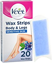 Veet Easy Grip Wax Strips for Sensitive Skin (Count of 20) Hair Removal, 0.1Kg