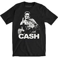 Johnny Cash Men's The Bird Slim Fit T-shirt Medium Black