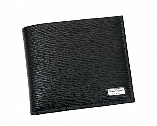 Ferragamo 【フェラガモ】 レザー オープン開閉式二つ折り財布 66-7070 /01 NERO ブラック 黒