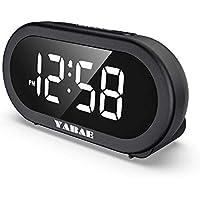 YABAE 目覚まし時計 置き時計 大音量 LED デジタル アラーム クロック スヌーズ機能 明るさ調整 おしゃれ コンセント式 ブラック AL-01-L