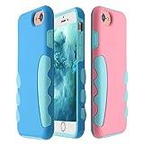 CHINFAI iPhone7/6/6Sケース シリコンPC材 二重保護 アイフォンソフトハードケース かわいい おしゃれ【iPhone対応】【水色シリコン】