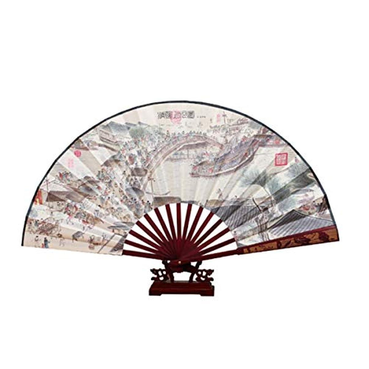 地元珍しい絞るQIANZICAI 扇子、古代風ワンフットキルトシルク男性ファン、扇子中華風、刻印ヘッドグリーンファン、中国の特別な贈り物、友人への創造的な贈り物、 滑らかな感触 (Color : S)