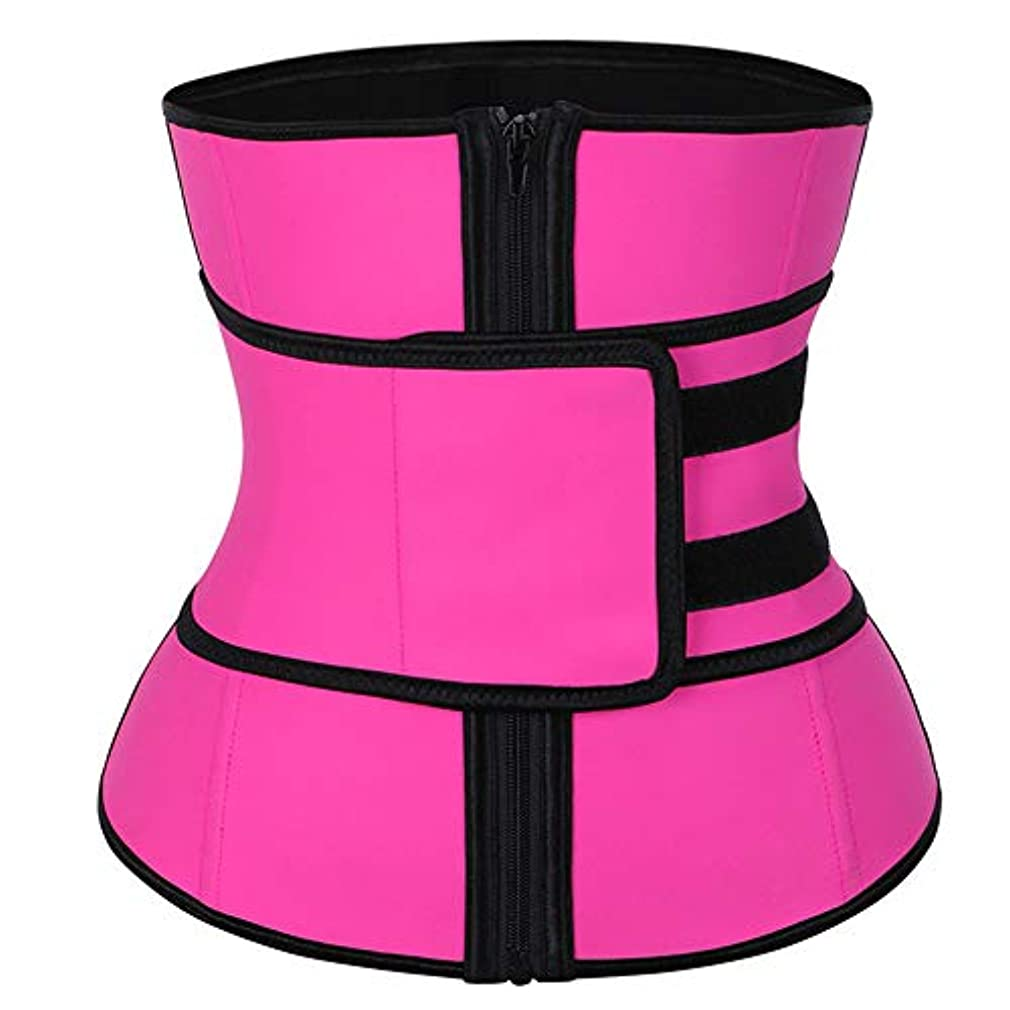 女性のウエストトレーニングコルセットコルセットネオプレン付きジッパーウエストスリムベルトラテックスラテックス通気性ウエストボディシェイプ,Pink,XL