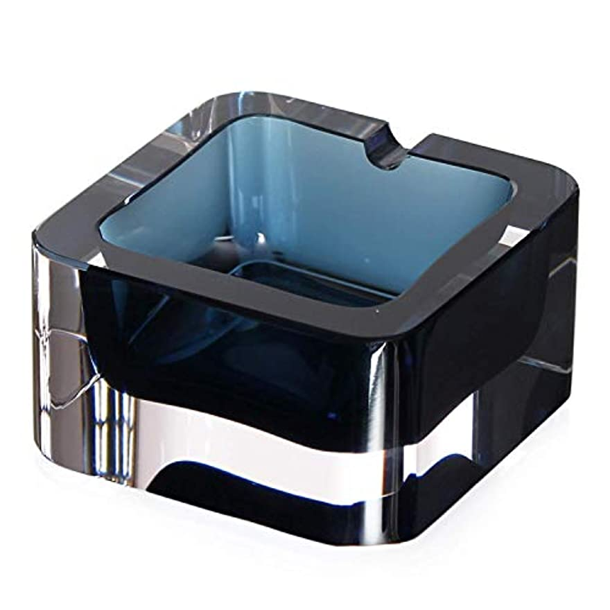 洗剤誰も非常にクリスタル灰皿、ミニサイズブルーフラットファッションクリエイティブグラスアッシュ、クリアで重いリビングホームまたはホテルとオフィスに適し、1人に適し、喫煙を好む。