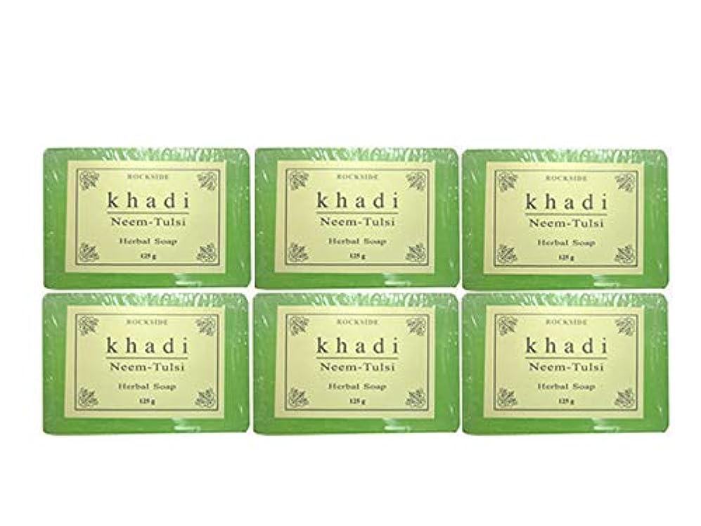 の中で洗練転送手作り ハーバル NT ソープ Khadi  Herbal Neem Tulsi Soap 6個SET