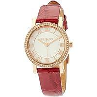 Michael Kors Petite Norie Red Calfskin & Stainless Steel Watch MK3812