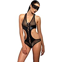 Leg Avenue Women's Kink by Lace Up Fishnet Crotchless Teddy and Eye Mask