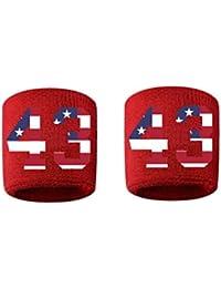 # 43刺繍/ステッチ汗止めバンドリストバンドレッドSweat Band w / USAアメリカ国旗数( 2パック)