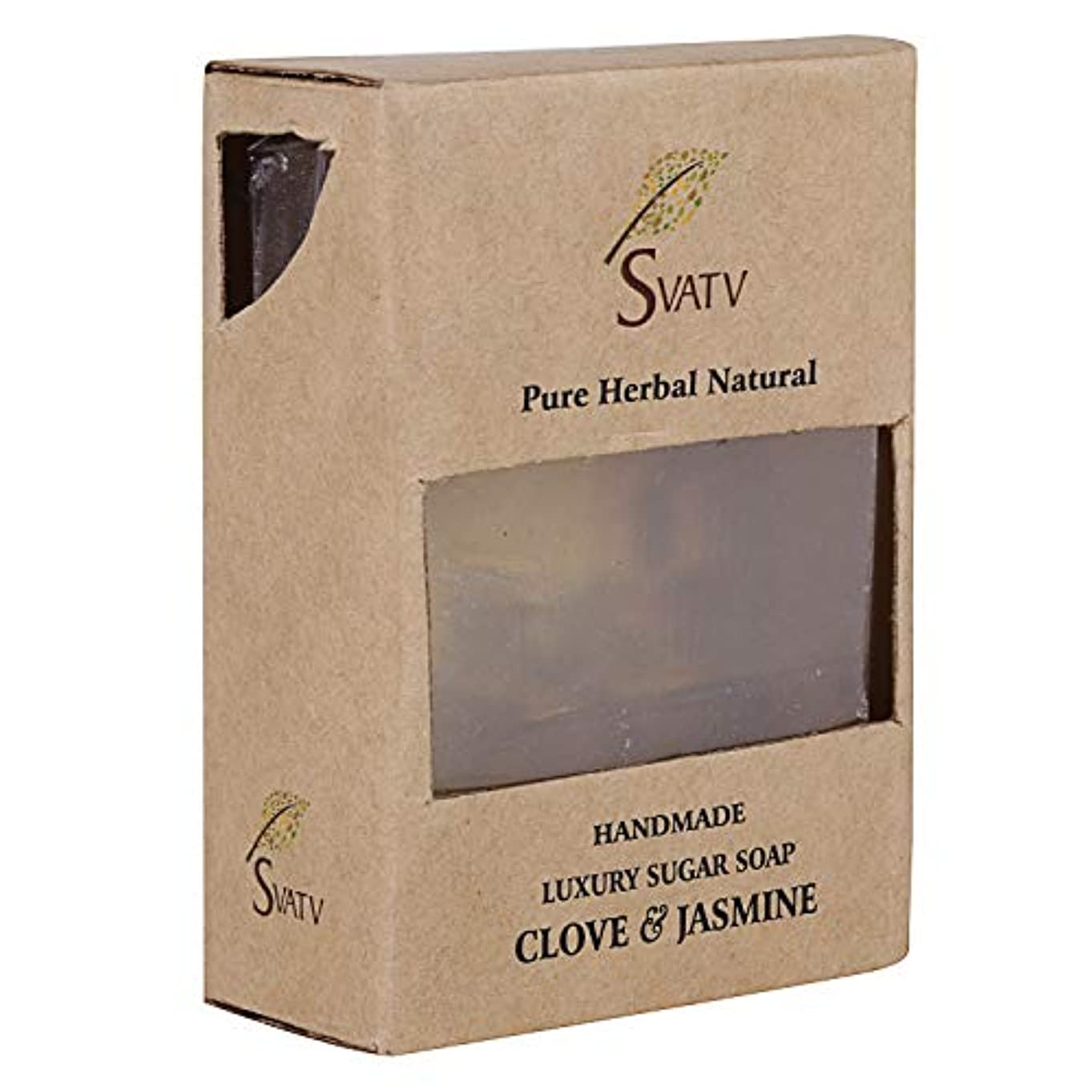 パイまさに立場SVATV Handmade Luxury Sugar Natural Soap ll Clove & Jasmine ll For All Skin types 100g Bar ll Kosher Certified