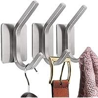 IBROCC 3M粘着壁フック つや消しステンレススチール ローブ&タオルフック コートフック バスルーム/キッチン/寝室/オフィス用 3パック