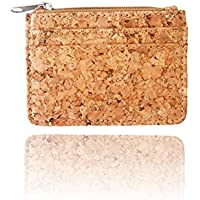 Cork Slim Wallet with Zipper Front Pocket Wallet Minimalist Secure Thin Credit Card Holder