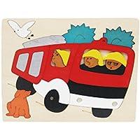 Votabell 木製 パズル 車 多層立体パズル 子供 はめこみ 形合わせ おもちゃ 幼児 (消防車)