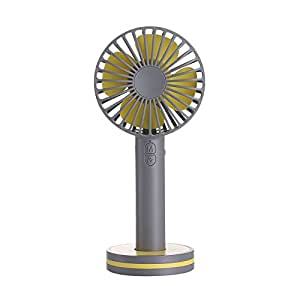 USB扇風機 小型携帯充電式扇風機 卓上&手持ちファン静音 強風 風量3段階調節 メイクアップミラー付き (ブラウン)