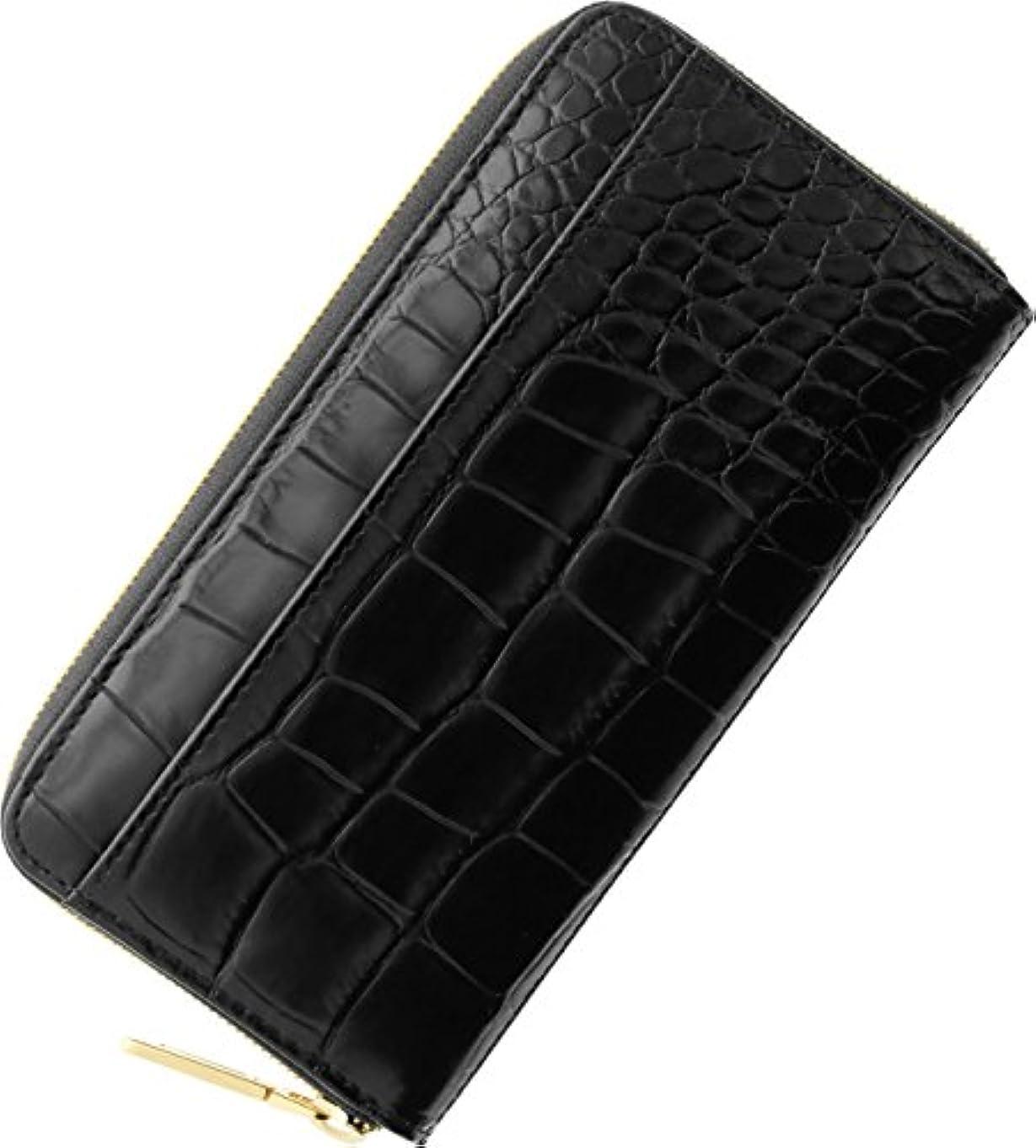 める驚いたつぼみ財布 メンズ 長財布 クロコダイル型押し ラウンドファスナー 真鍮 イタリア製本革 レザー 革