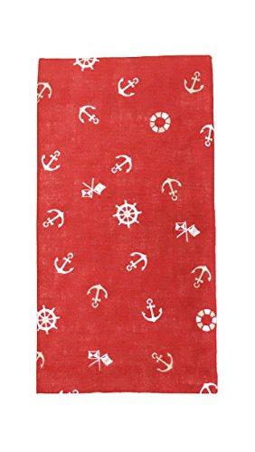 ガーゼTENUGUI 手拭い 柔らかい肌触り タオル代わりに 汗拭き お風呂 首に巻いて 男女兼用 日本製 綿100% (マリン レッド)
