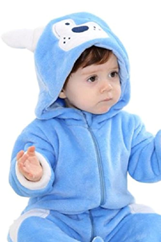 (SCGEHA) 赤ちゃん ロンパース 犬 動物 着ぐるみ カバーオール オールインワン ベビー 防寒 戌年 耳 しっぽ付き(ブルー/90)