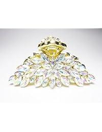 2色 しっかりとまる ダイヤカット クリスタル フラワー ヘアクリップ 144648 (クリスタル)