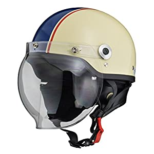リード工業(LEAD) バイクヘルメット ジェット CROSS バブルシールド付きハーフヘルメット アイボリー×ネイビー CR-760 FREE (頭囲 57cm~60cm未満)