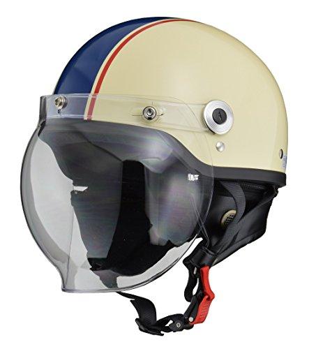 リード工業(LEAD) バイクヘルメット ジェット CROSS バブルシールド付きハーフヘルメット アイボリー×ネイビー フリーサイズ(57-60cm未満) CR-760