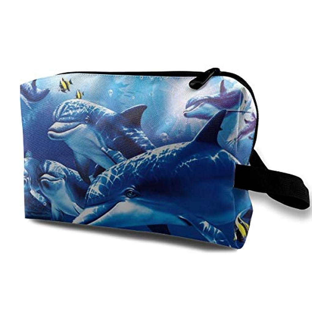 少し慎重に請求可能Blue Sea World Coral Dolphin 収納ポーチ 化粧ポーチ 大容量 軽量 耐久性 ハンドル付持ち運び便利。入れ 自宅?出張?旅行?アウトドア撮影などに対応。メンズ レディース トラベルグッズ