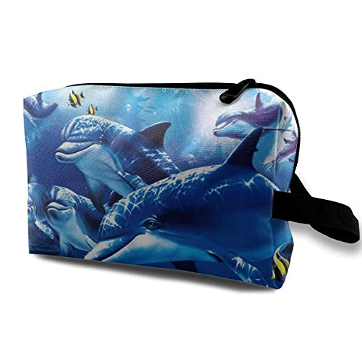 報酬の周術期複合Blue Sea World Coral Dolphin 収納ポーチ 化粧ポーチ 大容量 軽量 耐久性 ハンドル付持ち運び便利。入れ 自宅?出張?旅行?アウトドア撮影などに対応。メンズ レディース トラベルグッズ